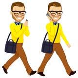 Walking Man With Smartphone vector illustration