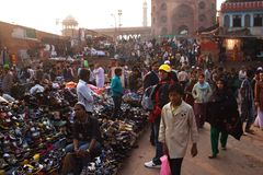 The Market around Jama Masjid in Delhi. 2011, December, 30th stock image