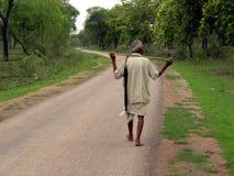 Walking in meadows. An old man strolling Stock Photo
