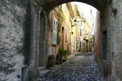 Medieval street. Walking through medieval streets in Biot France royalty free stock image