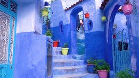 Walking in medina blue town Chefchaouen Morocco stock video footage