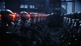 Walking military robots. invasion of military robots. Dramatic apocalypse super realistic concept. Future. 4k animation.