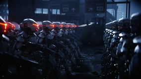 Walking military robots. invasion of military robots. Dramatic apocalypse super realistic concept. Future. 3d rendering. Walking military robots. invasion of royalty free illustration
