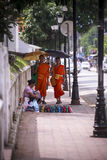 Walking monks Royalty Free Stock Photos