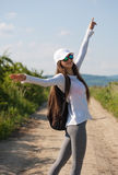 Walking is the most natural exercise. Walking is the most natural exercise, brunette beauty hiking Royalty Free Stock Image