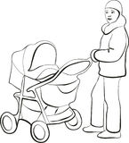 Walking mother. With your child stock illustration