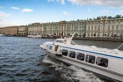 The walking motor ship on underwater wings in St. Petersburg Royalty Free Stock Image