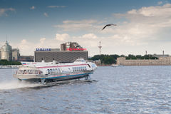 The walking motor ship on underwater wings in St. Petersburg Stock Photography