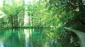 Walking through mountain forest near to the lake,. View from Plitvice lakes. HD stock footage