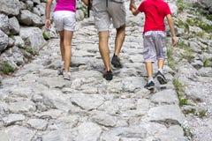 Walking on the mountain trail stock photos