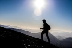 Walking on mountains. Crazy adventurous and climber.Discovery and adventure Royalty Free Stock Images