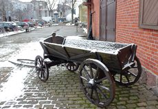 Old wagon in the city royalty free stock photography