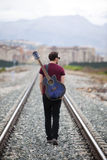 Walking musician Royalty Free Stock Photo