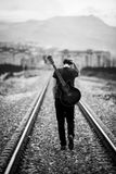 Walking musician Royalty Free Stock Photography