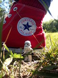 Walking in my shoes. Minifigure of stormtrooper somewhere in Poltavschina Royalty Free Stock Images