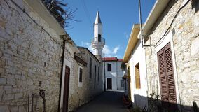 Walking through the narrow street of Pano Lefkara village. Larnaca District, Cyprus