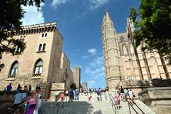 Walking near the Cathedral of Palma de Majorca Stock Images