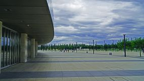 Walking near stadium. Place: russia, krasnodar, galician park, stadium `Kuban` stadium near famous galician park is presented quiet walkings and deep thoughts royalty free stock photography