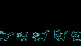 Walking Neon cats stock footage