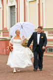 Walking newlyweds Royalty Free Stock Image