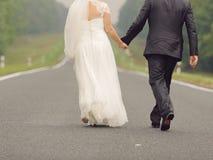 Walking Newlyweds Stock Images