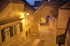 Walking in night medieval town. In summer Stock Photography