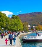Walking at Ohrid lake. Macedonia Royalty Free Stock Photos
