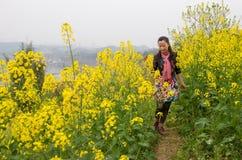 Walking in oilseed rape flowers Royalty Free Stock Image