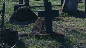 Walking in the old cemetery. Walking at the old cemetery stock footage