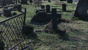 Walking in the old cemetery. Walking at the old cemetery stock video footage