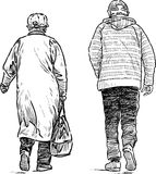 Walking old people Stock Images