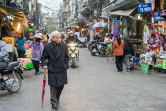 Walking in the Old Quarter of Hanoi Royalty Free Stock Images