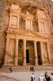 Walking between сonstruction of the abandoned city of Petra. In Jordan Stock Image