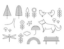 Walking on the open air. Hand drawn elements in Scandinavian sty. Walking on the open air. Line elements in Scandinavian style. Forest, mushrooms, bench, clouds Royalty Free Stock Photography