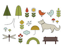 Walking on the open air. Hand drawn elements in Scandinavian sty. Walking on the open air. Line  icons in Scandinavian style. Forest, park, trees, dog, birds Stock Photography