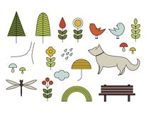 Walking on the open air. Hand drawn elements in Scandinavian sty. Walking on the open air. Line vector icons in Scandinavian style. Forest, park, flowers Royalty Free Stock Image