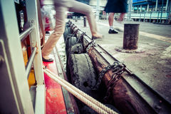 The Walking out of the express boat in Bangkok. Walking out of  express boat in Bangkok Stock Photography