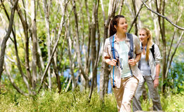 Walking outdoors with backpacks Royalty Free Stock Photo