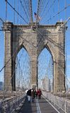 Walking over Brooklyn Bridge Royalty Free Stock Images