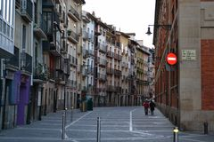 Walking in Pamplona Stock Images