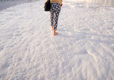 Walking on Pamukkale, Turkey Royalty Free Stock Photography