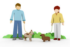 Walking Park. Men and women relaxing in the park. Walk the dog a new meeting Stock Photography