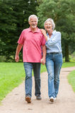 Walking in the park. Active and happy senior couple walking in the park Stock Photos