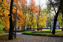 Walking in the park of Cathedral square in Vilnius city Royalty Free Stock Photo