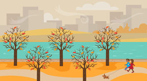 Walking at the park. A man and a woman walking their dog at the park. Eps10 vector illustration