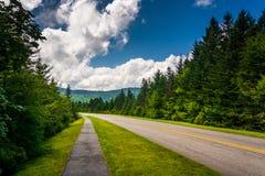 Walking path along the Blue Ridge Parkway in North Carolina. Royalty Free Stock Images