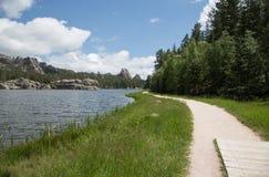 South Dakota Sylvan lake walking path. Walking Path along Sylvan lake on a summer day. the Black Hills in South Dakota Stock Photo