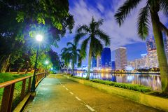 Walking path in Benjakitti park at night, Bandkok, Thailand Royalty Free Stock Photos