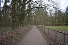 Walking path in a petting zoo. A walking path in a Dutch petting zoo stock photo