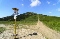 Walking path with guidepost in National park Mala Fatra Royalty Free Stock Photo